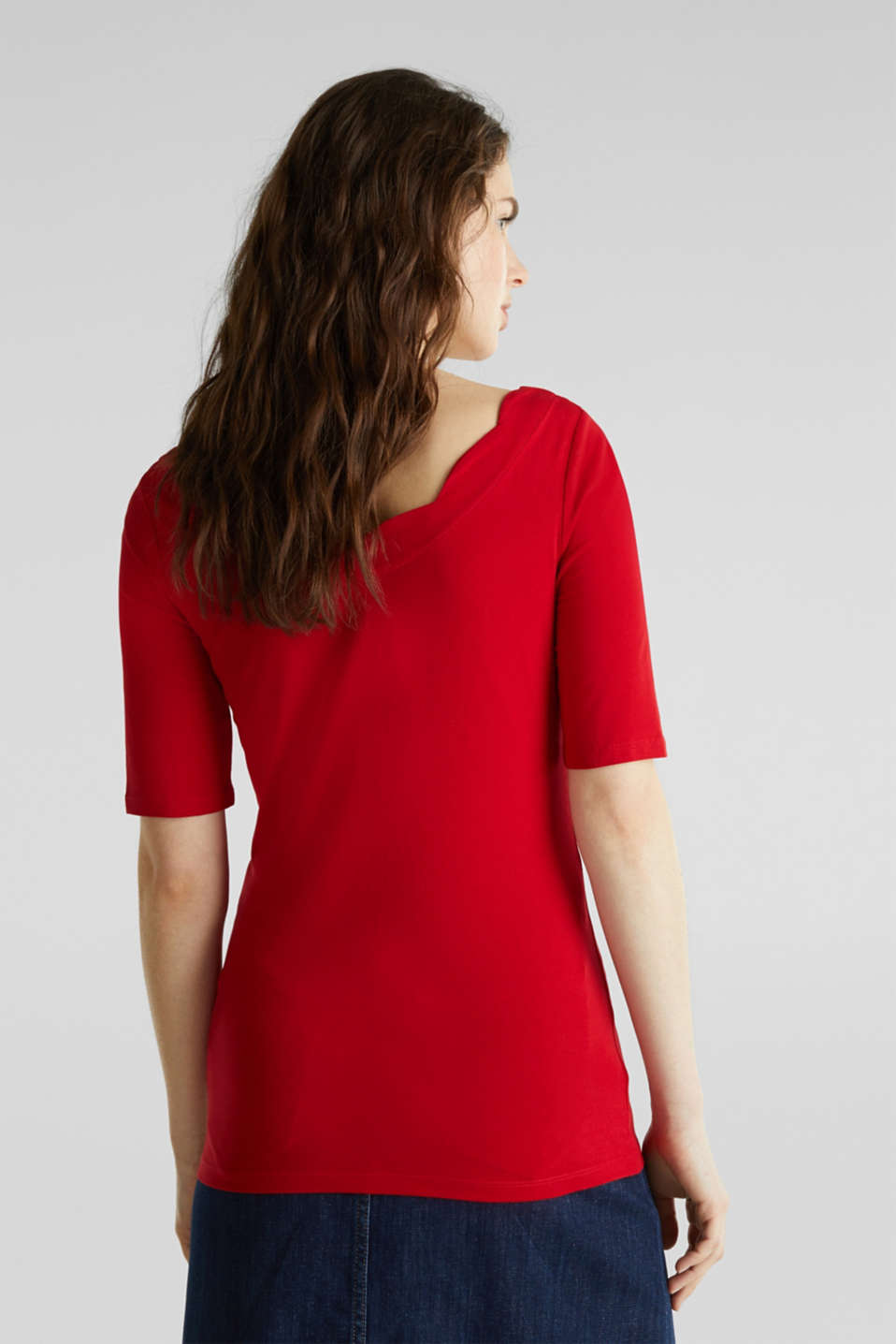 Stretch T-shirt with a scalloped trim, DARK RED 3, detail image number 2
