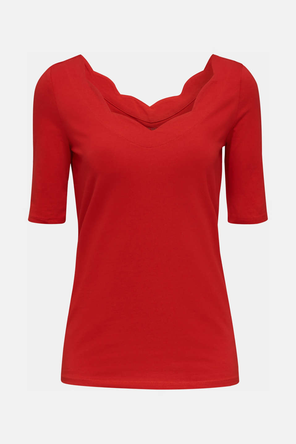 Stretch T-shirt with a scalloped trim, DARK RED 3, detail image number 6