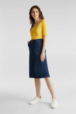 Stretch T-shirt with a scalloped trim, YELLOW 3, detail
