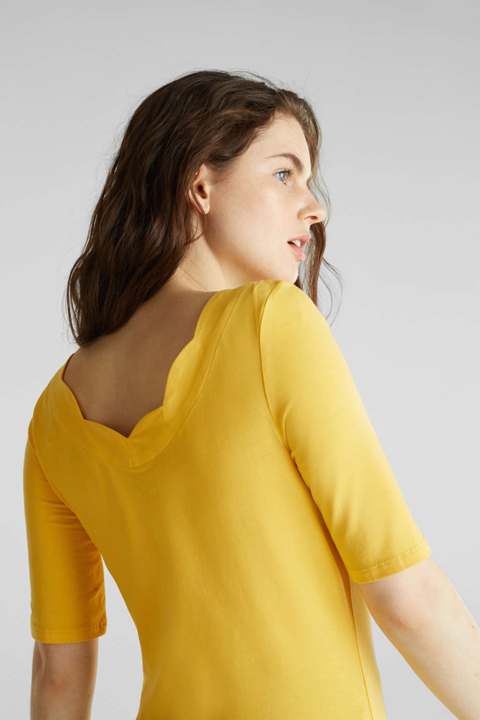 Stretch T-shirt with a scalloped trim, YELLOW 3, detail image number 4