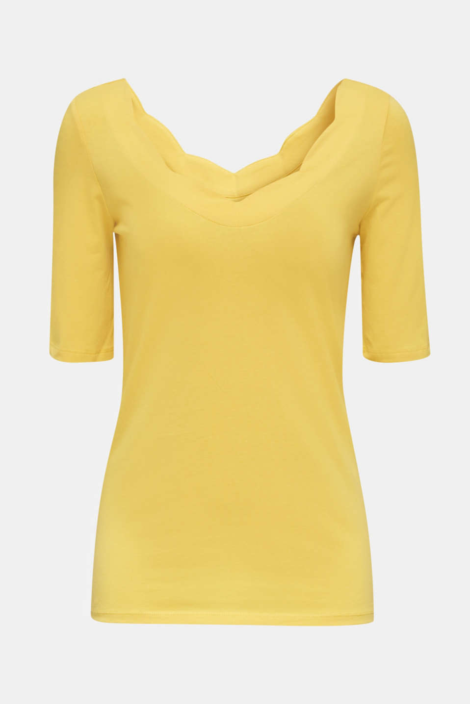 Stretch T-shirt with a scalloped trim, YELLOW 3, detail image number 5