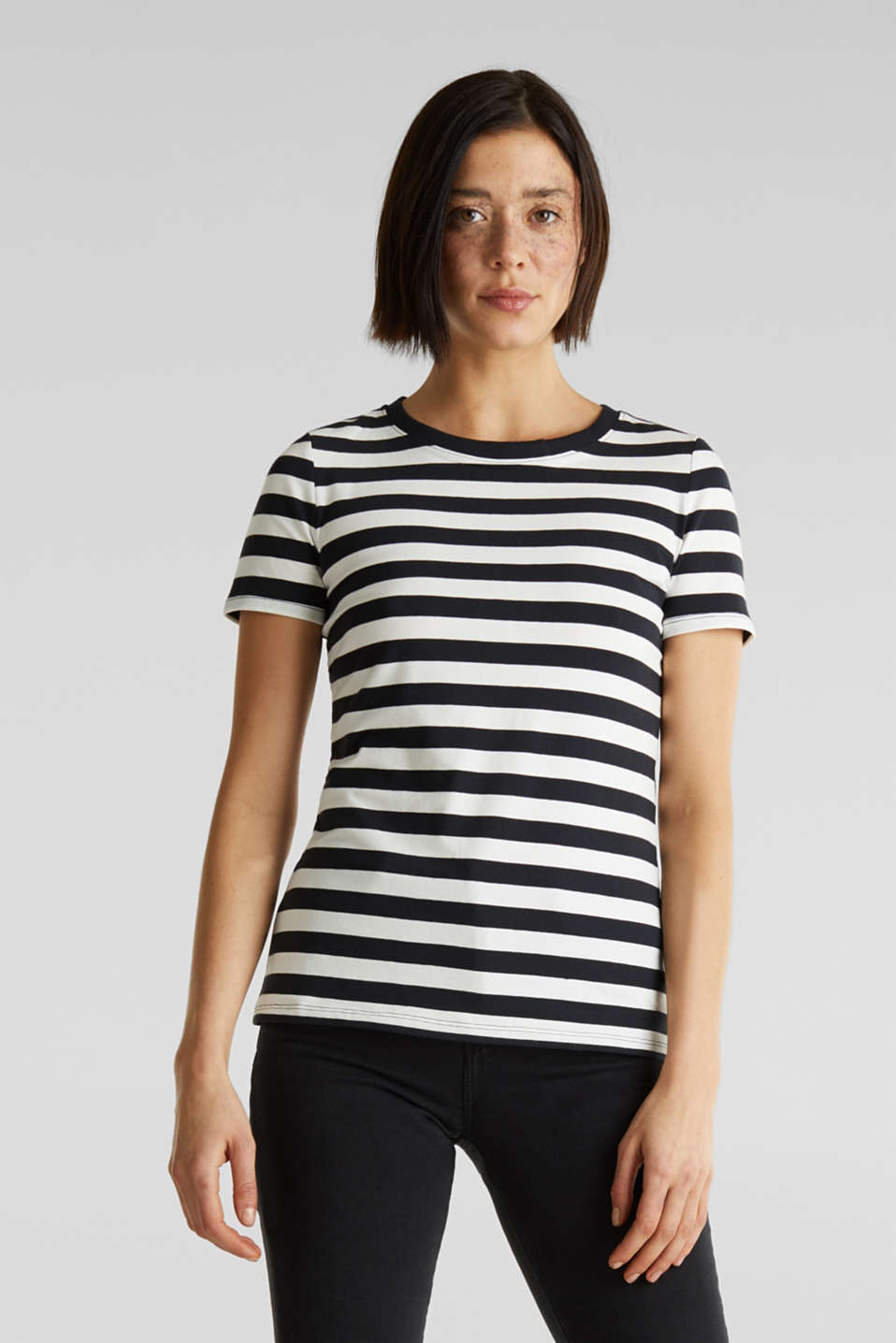 Striped, stretch cotton T-shirt, BLACK, detail image number 0