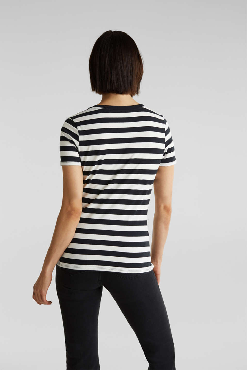 Striped, stretch cotton T-shirt, BLACK, detail image number 3