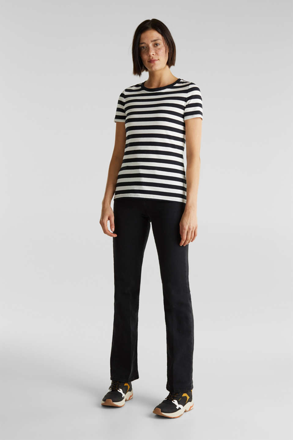 Striped, stretch cotton T-shirt, BLACK, detail image number 1
