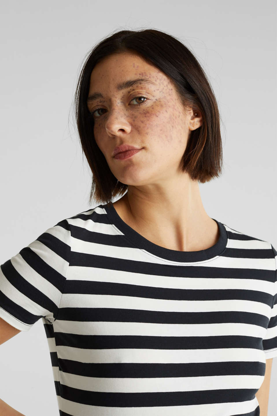Striped, stretch cotton T-shirt, BLACK, detail image number 2