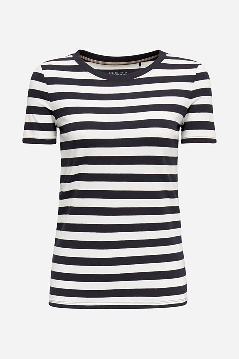 Striped, stretch cotton T-shirt