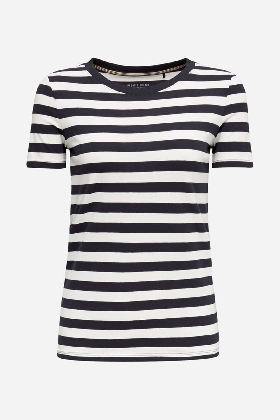 Striped, stretch cotton T-shirt, BLACK, detail image number 5