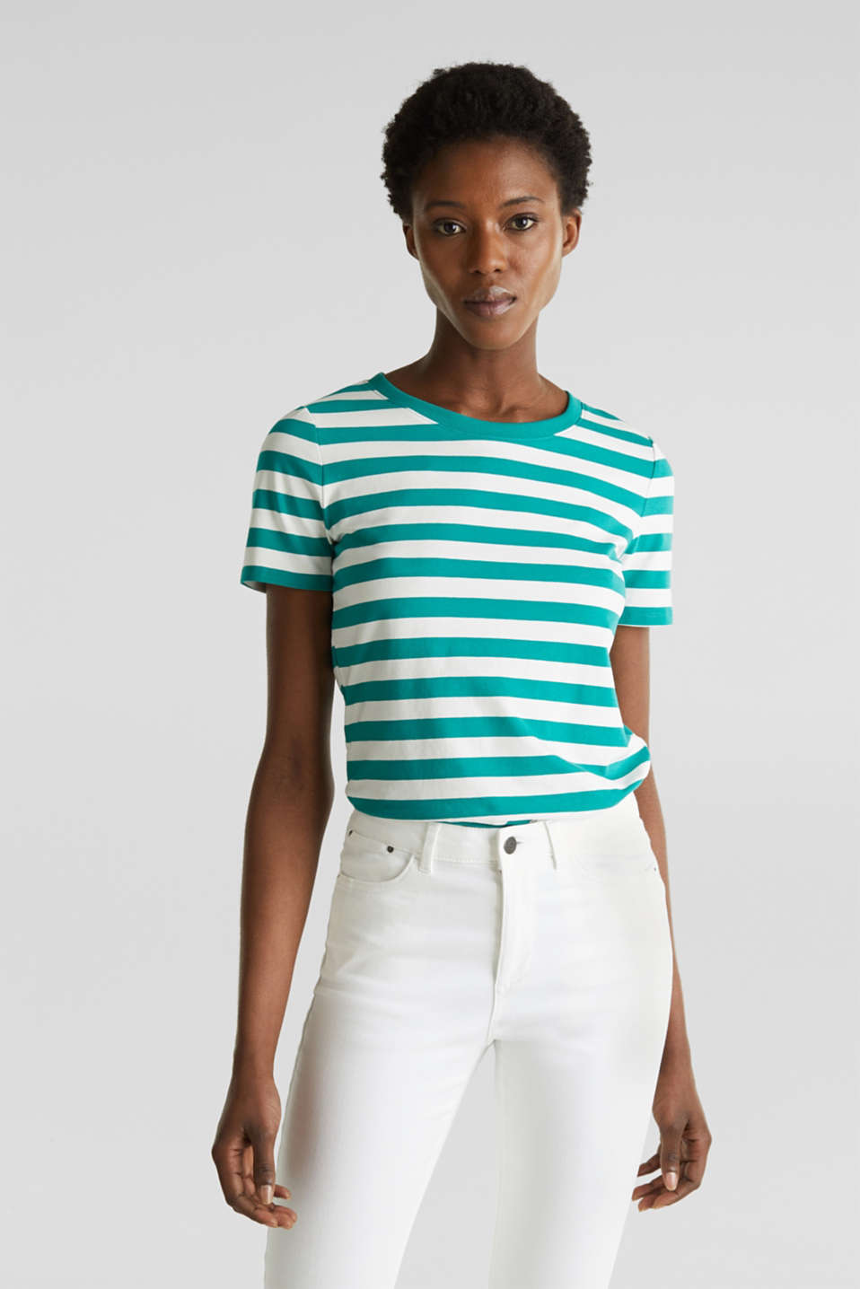 Striped, stretch cotton T-shirt, TEAL GREEN 4, detail image number 0