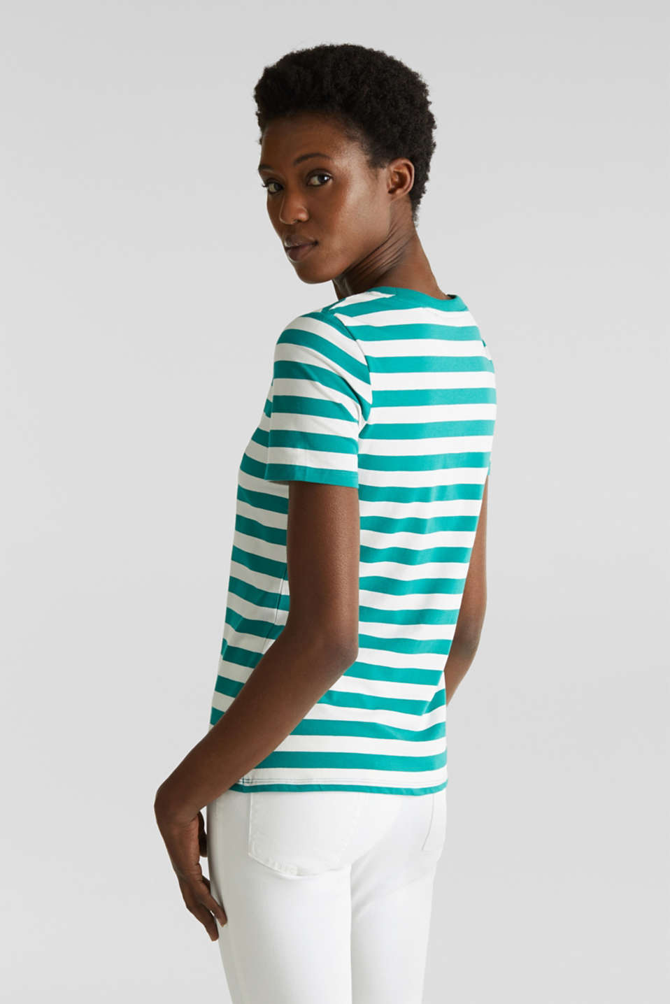 Striped, stretch cotton T-shirt, TEAL GREEN 4, detail image number 3