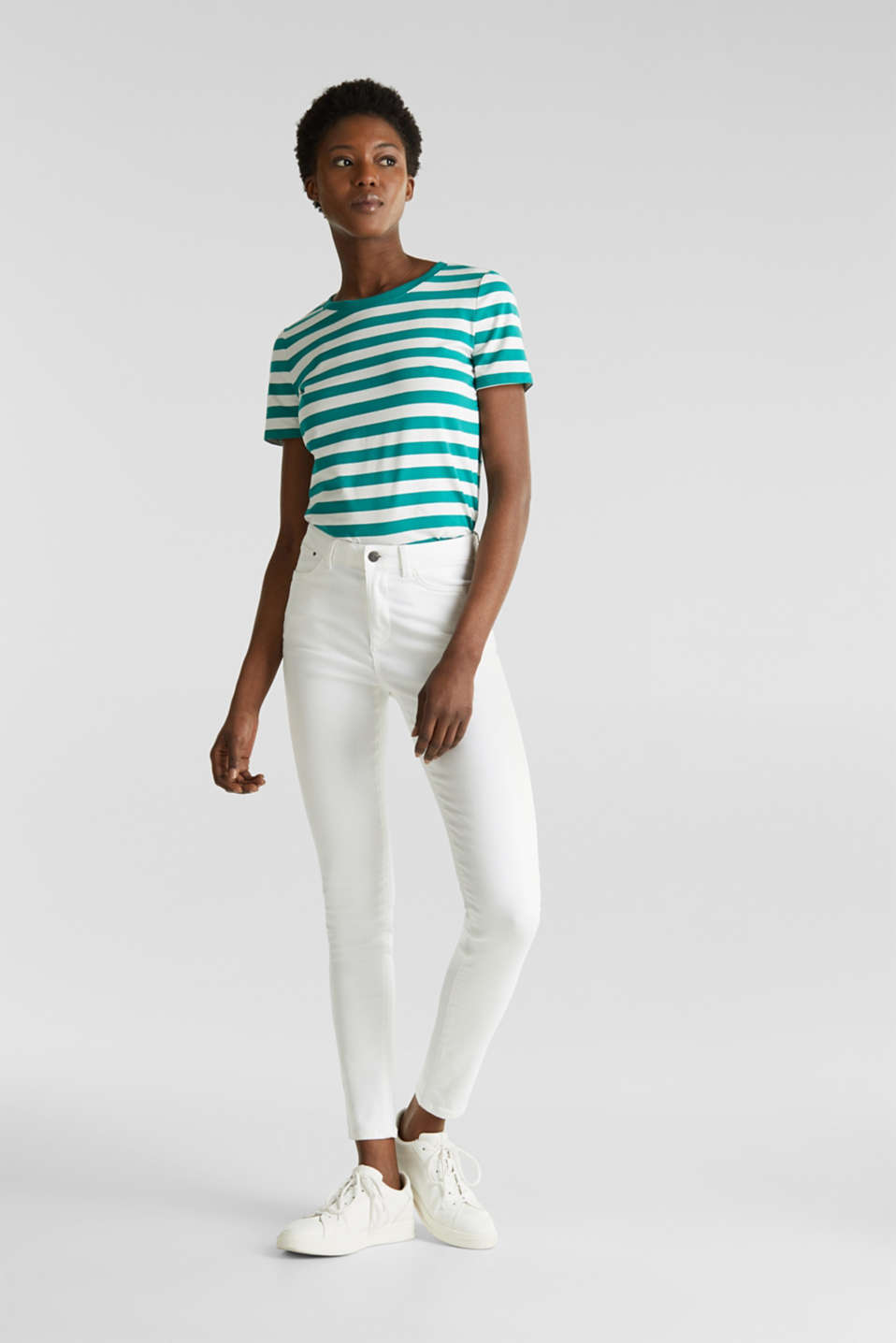 Striped, stretch cotton T-shirt, TEAL GREEN 4, detail image number 1