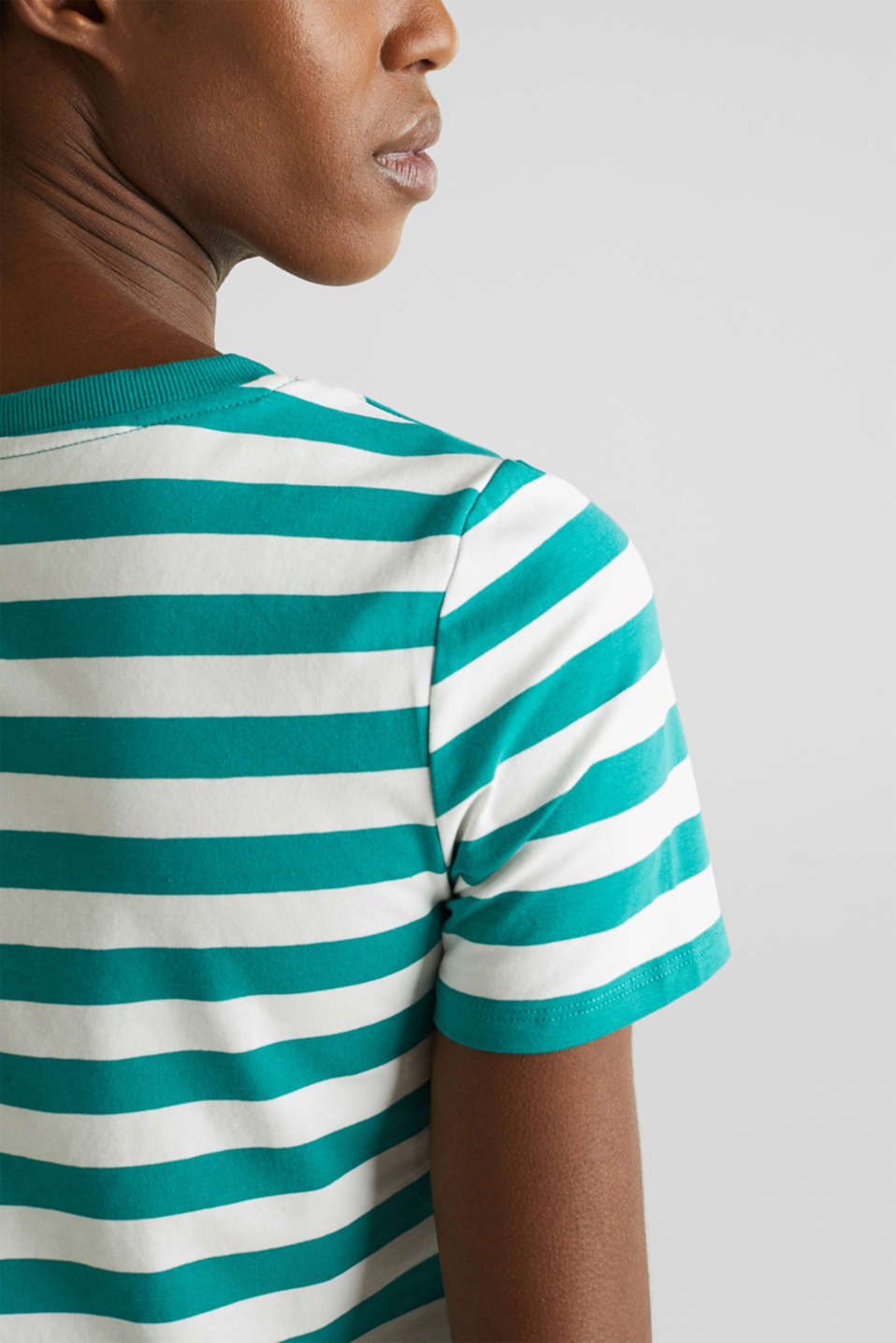 Striped, stretch cotton T-shirt, TEAL GREEN 4, detail image number 2