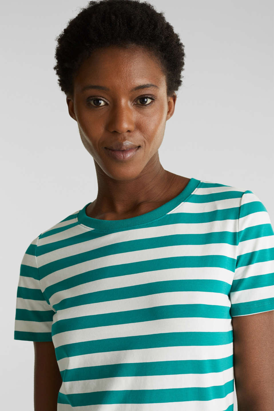 Striped, stretch cotton T-shirt, TEAL GREEN 4, detail image number 5