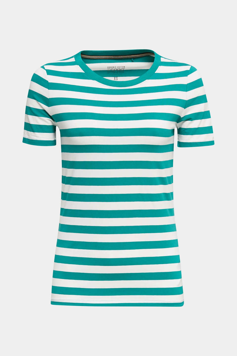 Striped, stretch cotton T-shirt, TEAL GREEN 4, detail image number 6