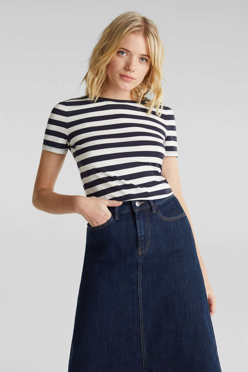 Striped, stretch cotton T-shirt, NAVY, detail image number 0
