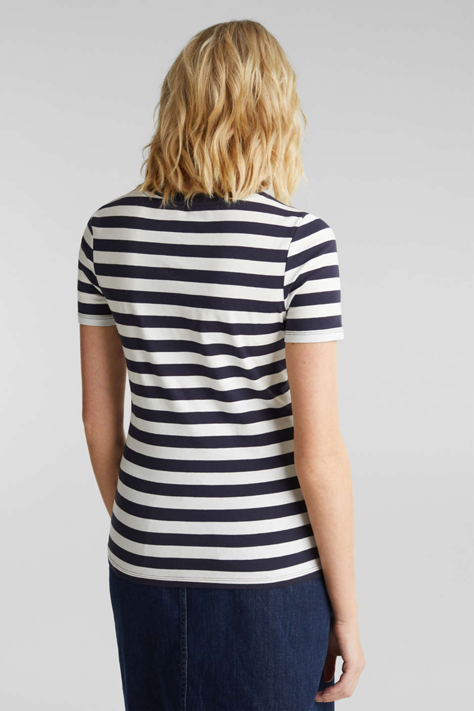 Striped, stretch cotton T-shirt, NAVY, detail image number 3