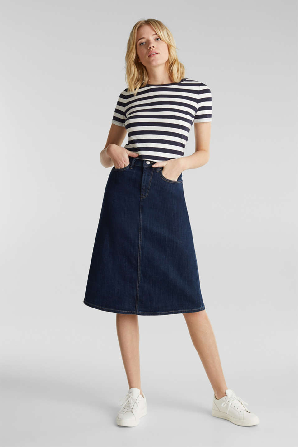 Striped, stretch cotton T-shirt, NAVY, detail image number 1