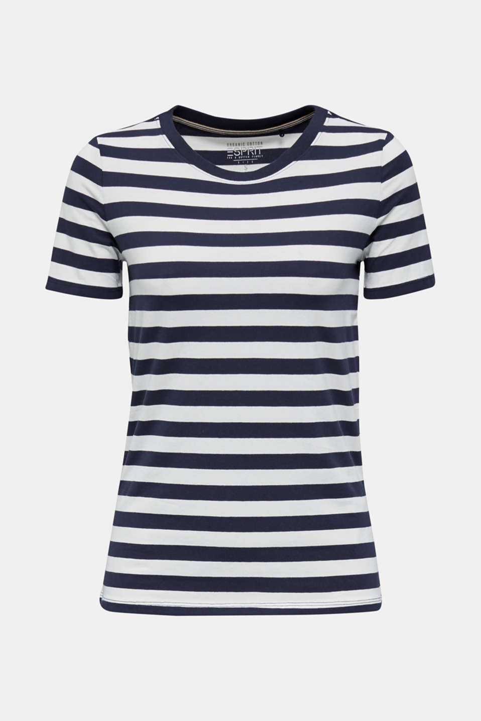 Striped, stretch cotton T-shirt, NAVY, detail image number 6