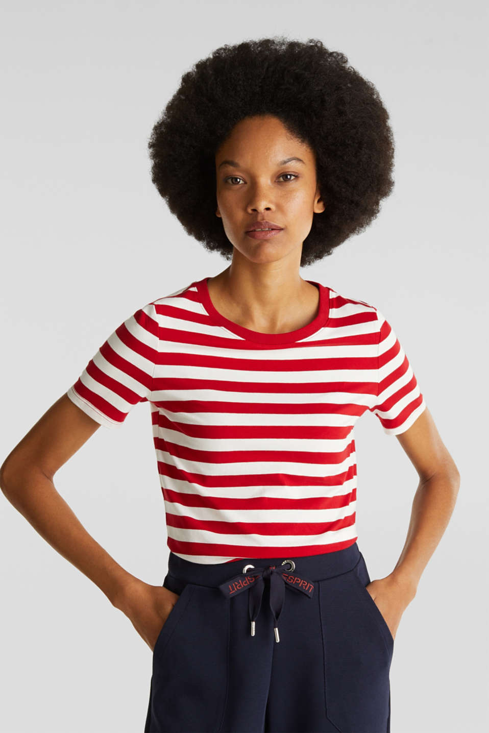 Esprit - Striped, stretch cotton T-shirt