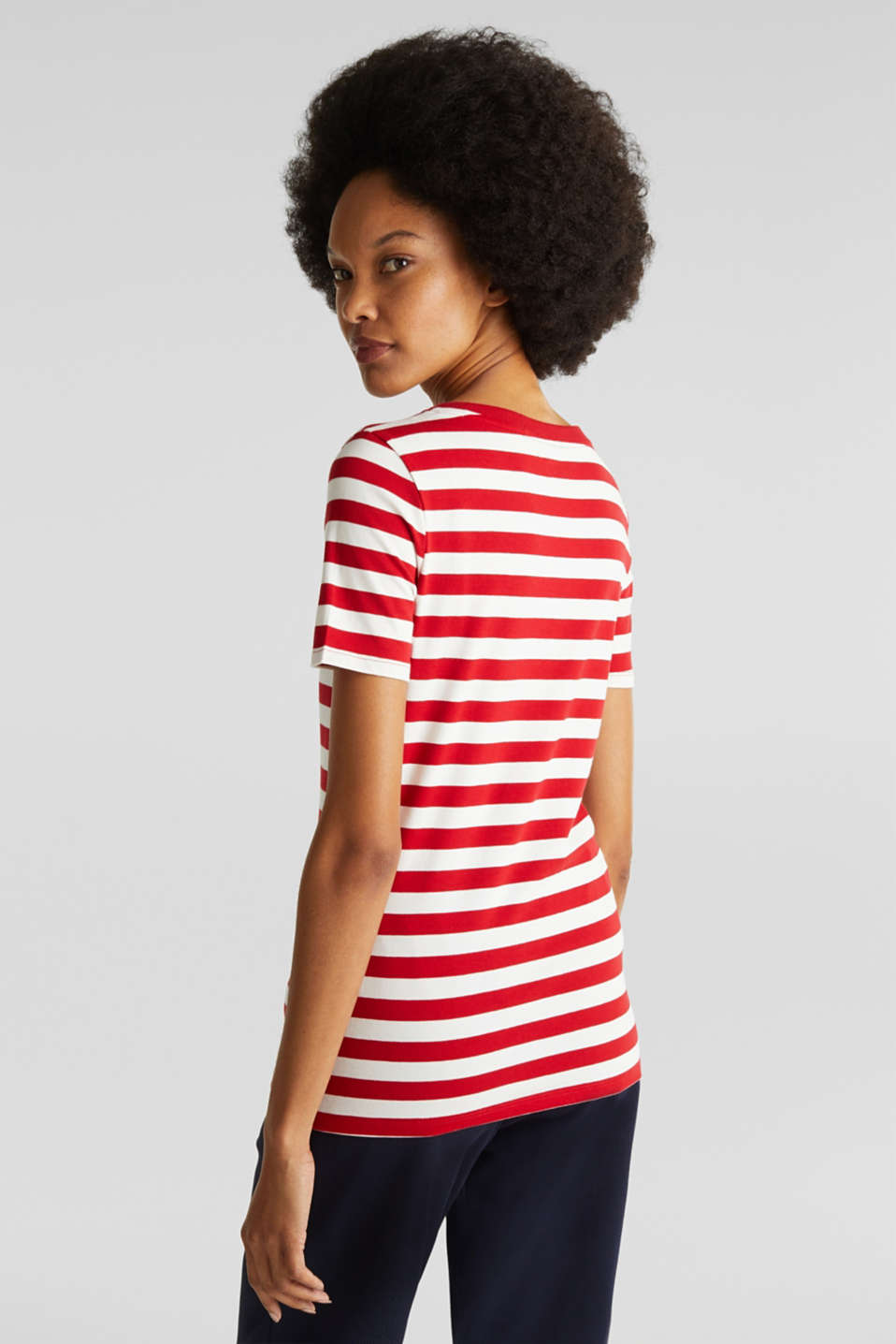 Striped, stretch cotton T-shirt, DARK RED 3, detail image number 3