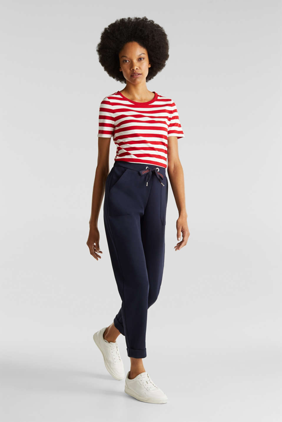 Striped, stretch cotton T-shirt, DARK RED 3, detail image number 1