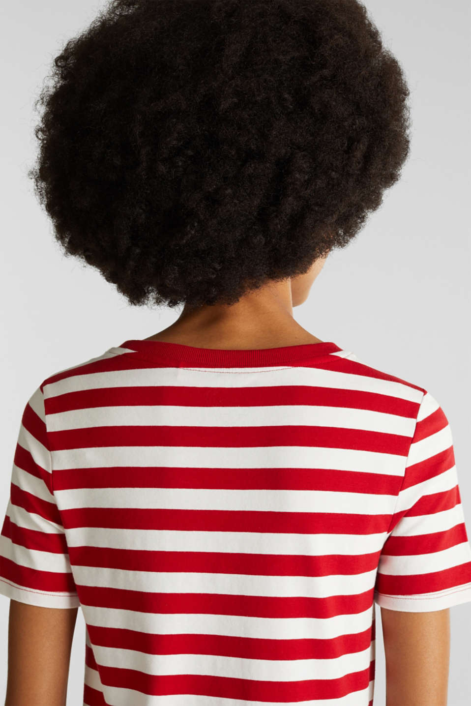 Striped, stretch cotton T-shirt, DARK RED 3, detail image number 5