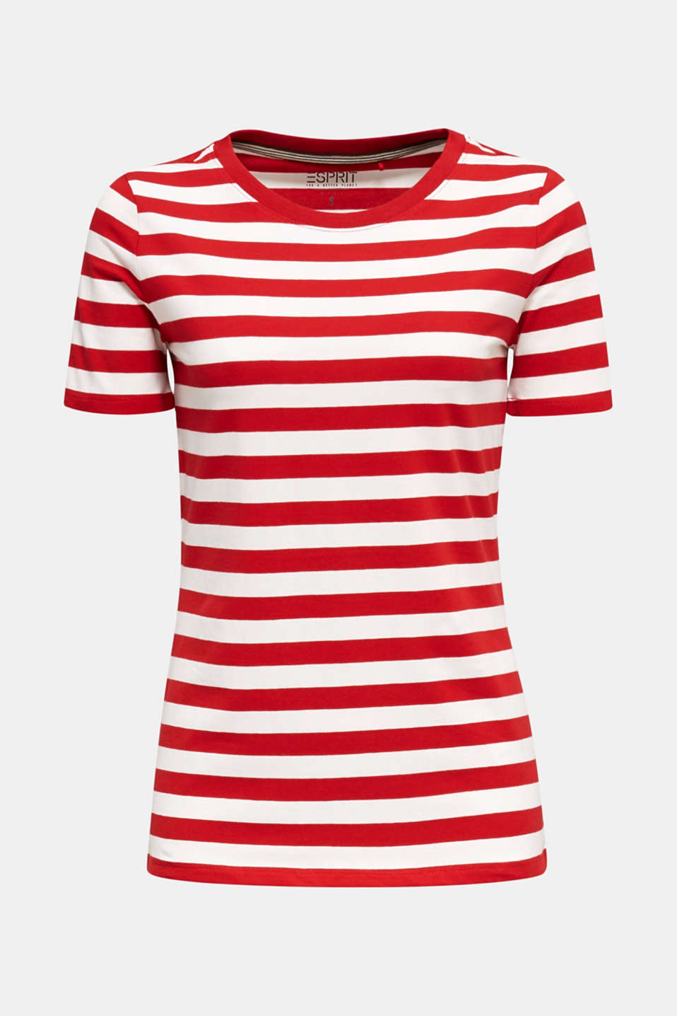 Striped, stretch cotton T-shirt, DARK RED 3, detail image number 7