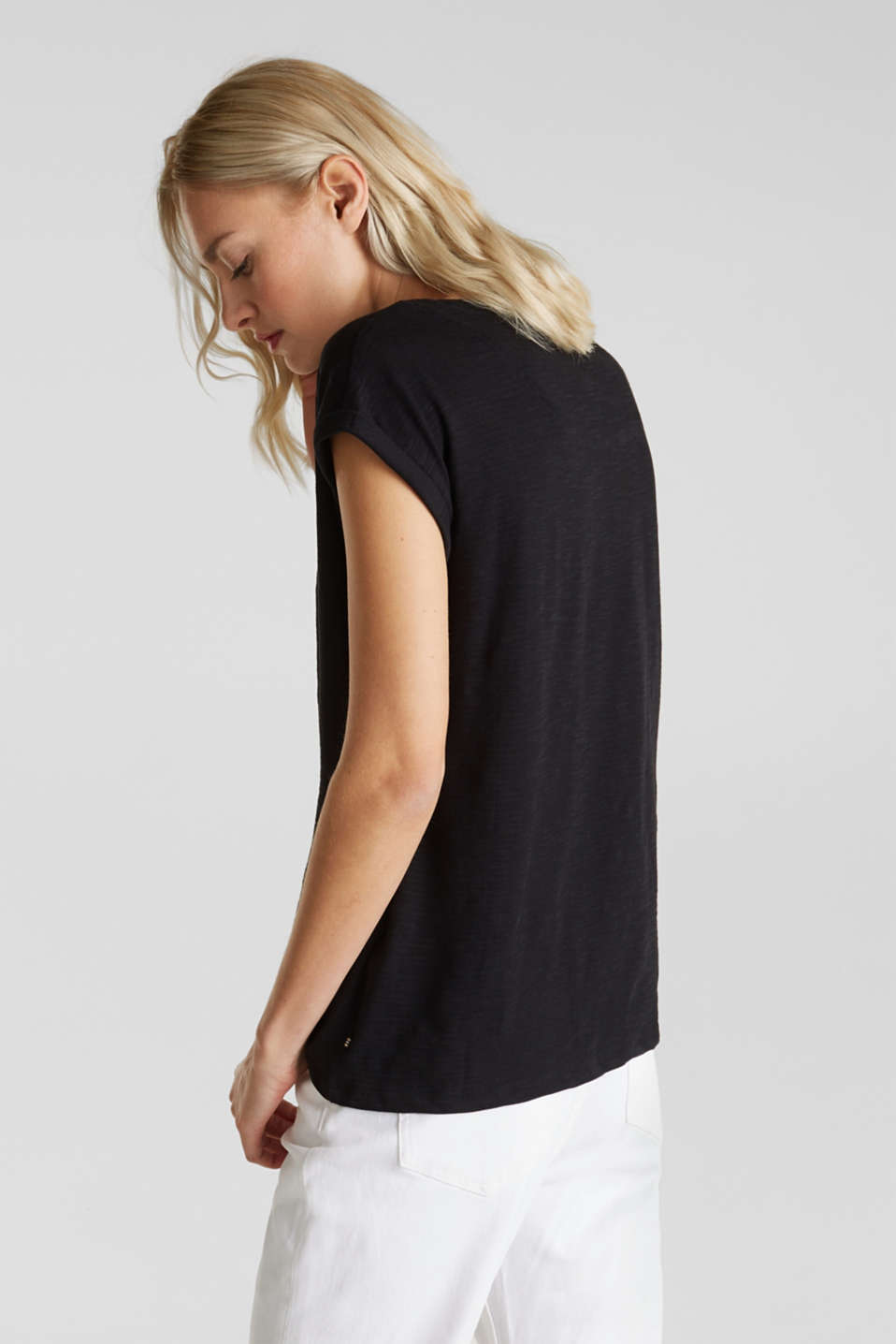 Slub top with a casual cut, BLACK, detail image number 3