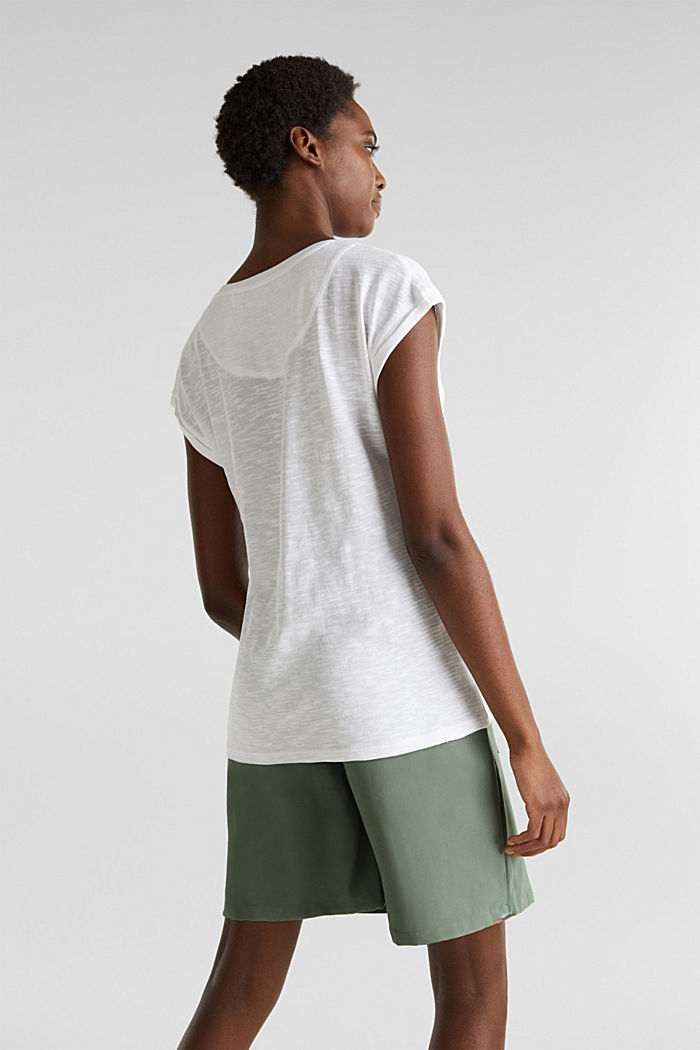 Slub top with a casual cut, WHITE, detail image number 2