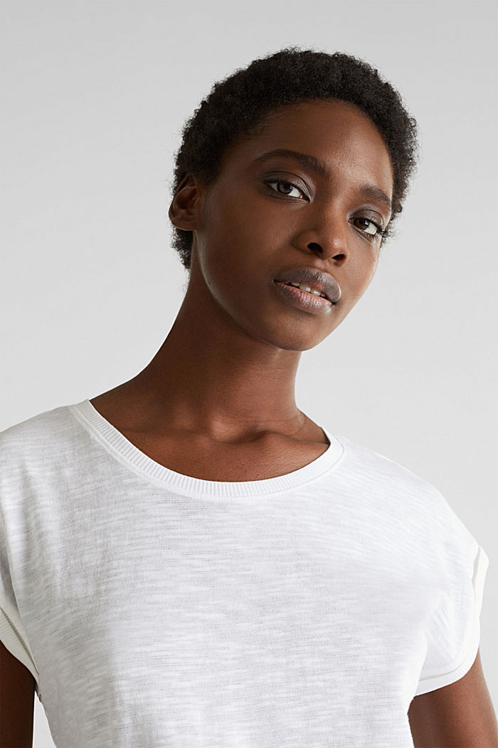 Slub top with a casual cut, WHITE, detail image number 5