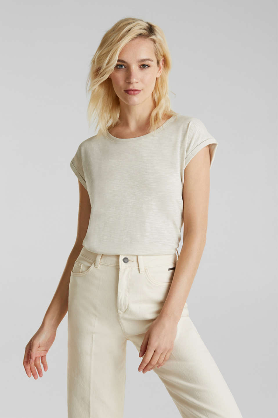 Slub top with a casual cut, SAND 4, detail image number 0