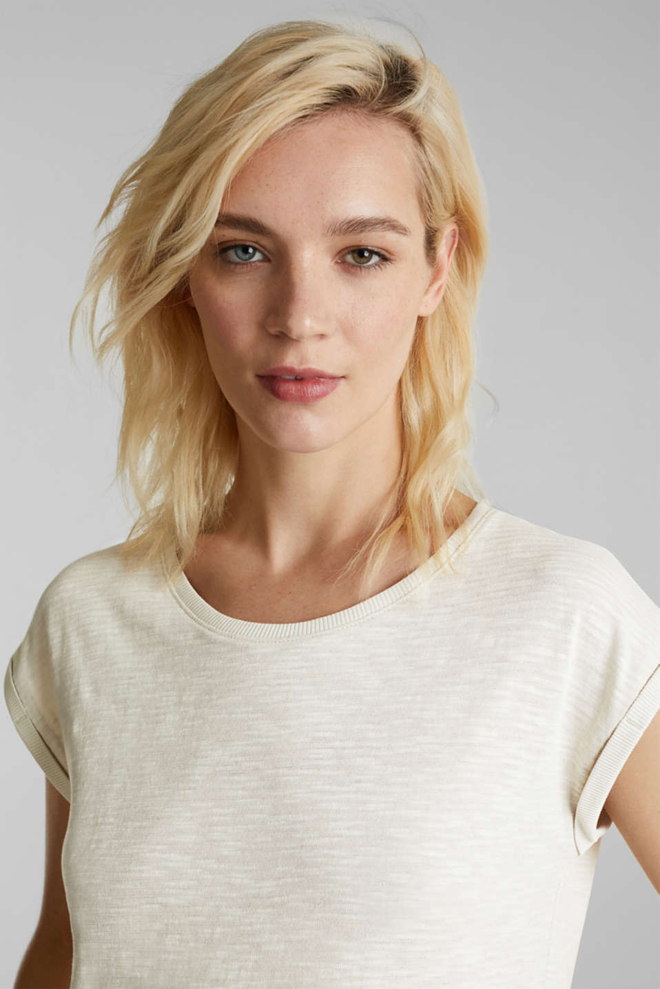 Slub top with a casual cut, SAND 4, detail image number 2