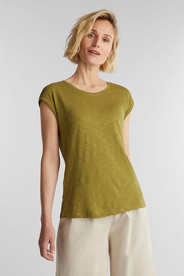 Slub-Shirt mit lässigem Schnitt, OLIVE, detail image number 0