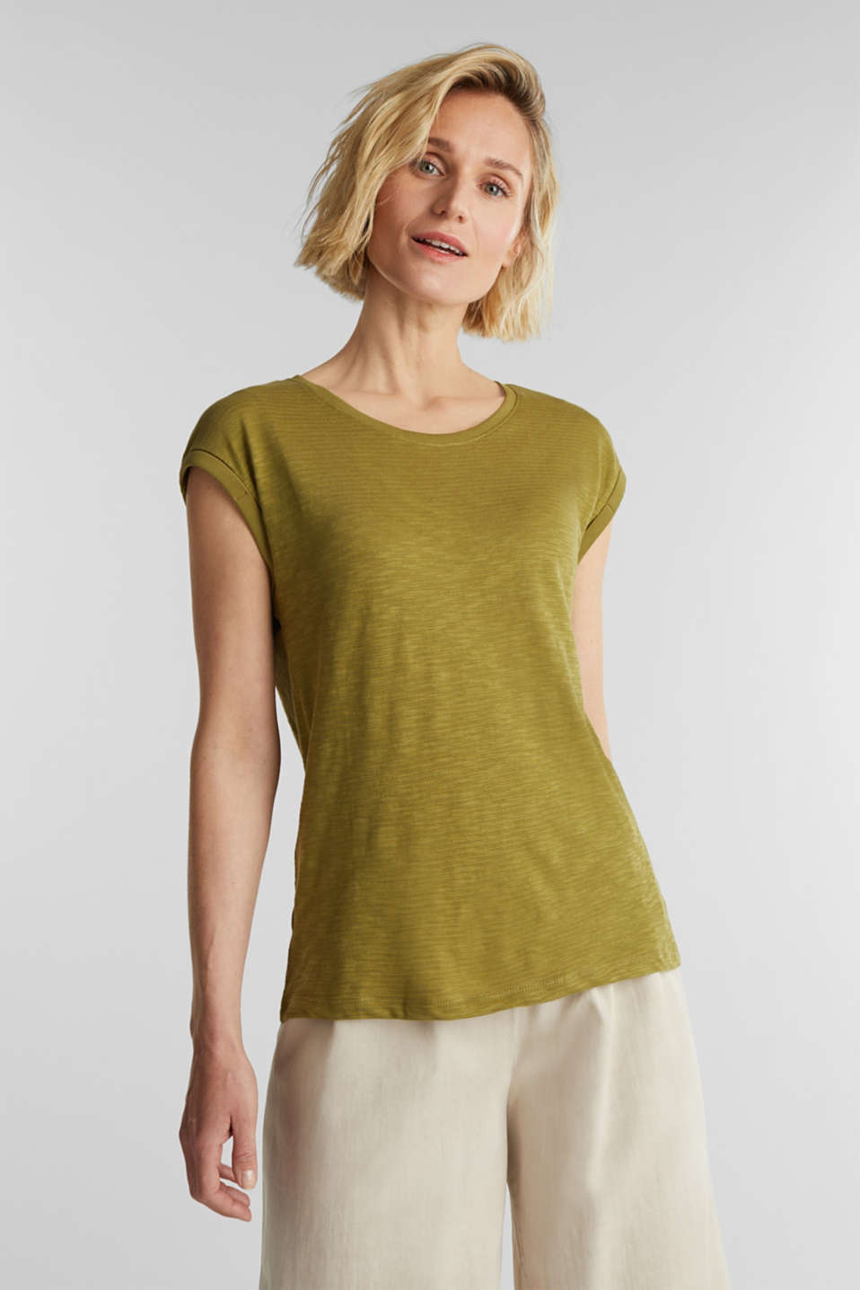 Esprit - Slub top with a casual cut