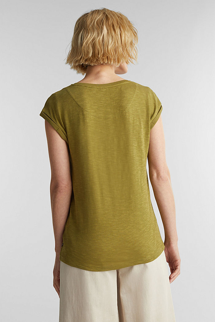 Slub top with a casual cut, OLIVE, detail image number 3