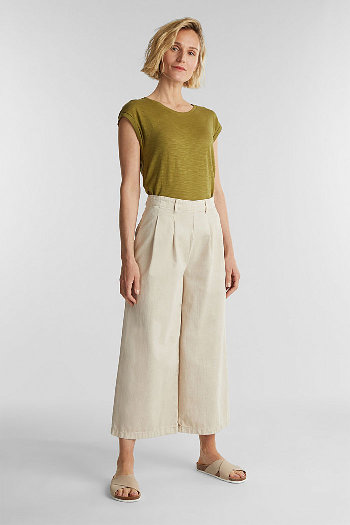 Slub top with a casual cut, OLIVE, detail image number 1