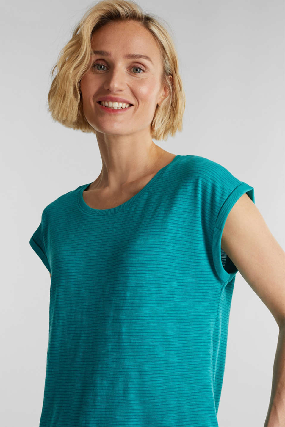 Slub top with a casual cut, TEAL GREEN 4, detail image number 0