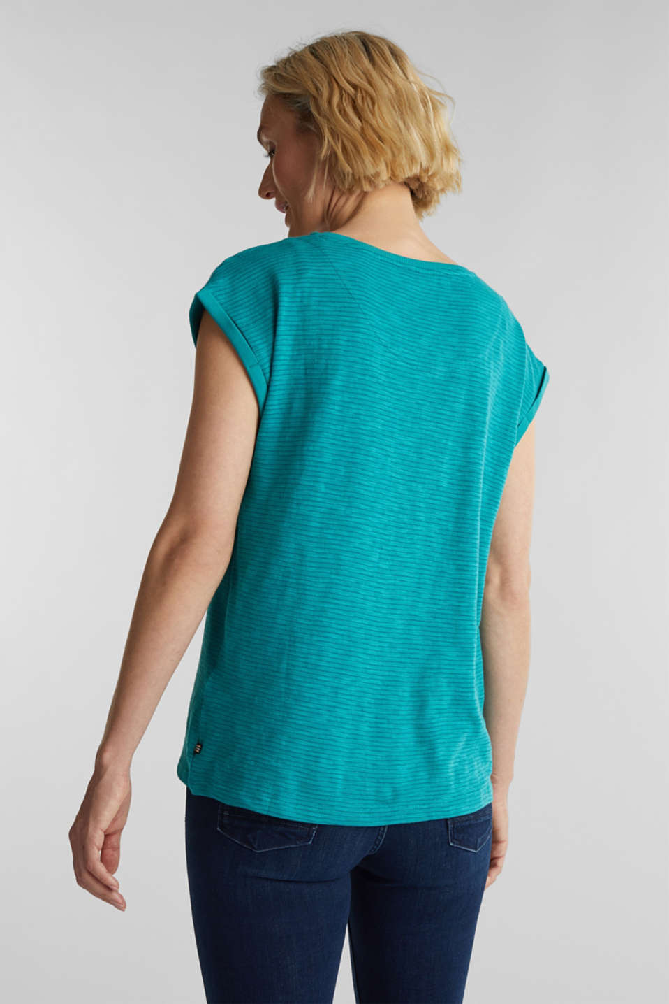 Slub top with a casual cut, TEAL GREEN 4, detail image number 3