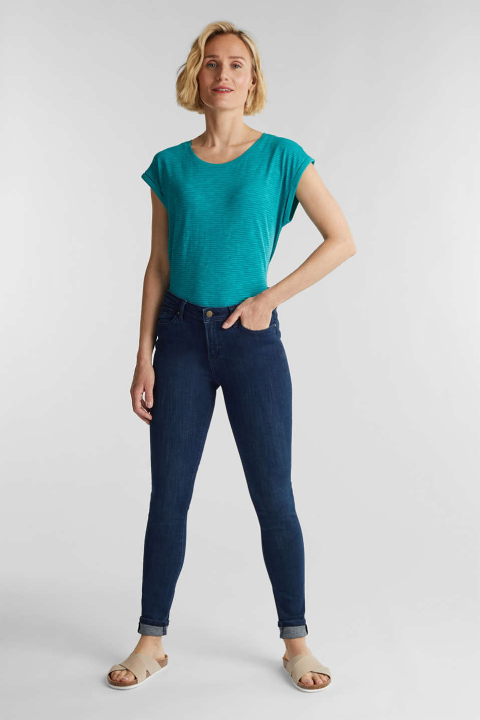 Slub top with a casual cut, TEAL GREEN 4, detail image number 1