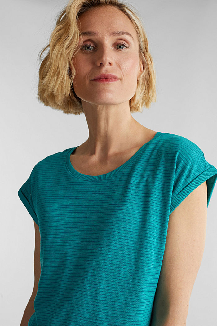 Slub jersey shirt met casual model, TEAL GREEN, detail image number 4