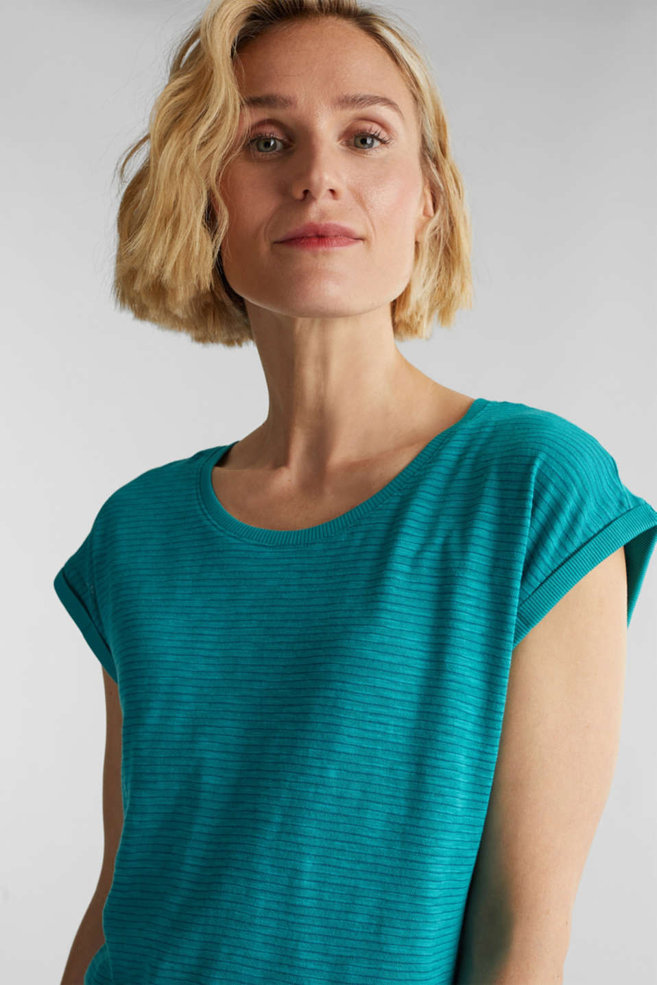 Slub top with a casual cut, TEAL GREEN 4, detail image number 4