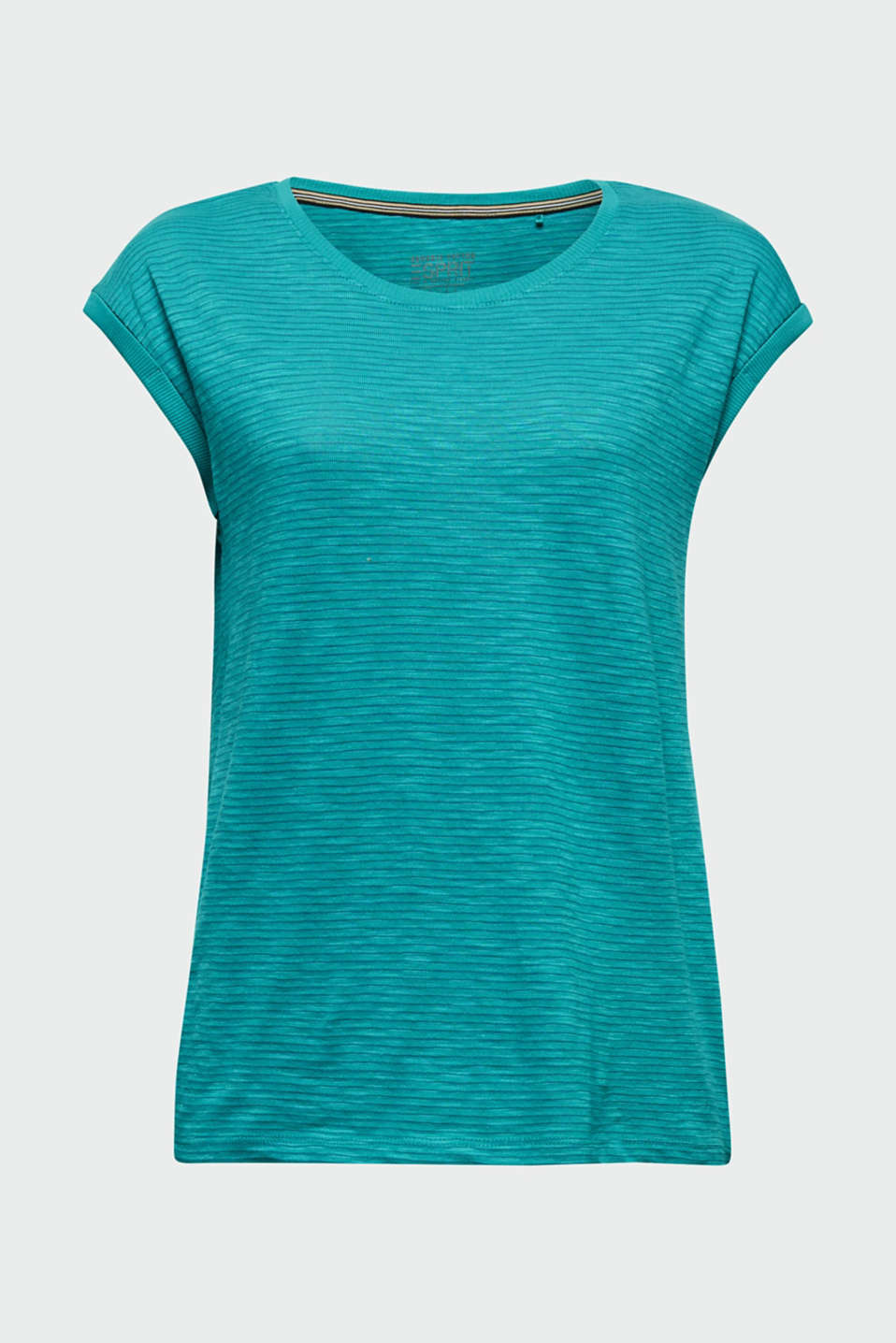 Slub top with a casual cut, TEAL GREEN 4, detail image number 5