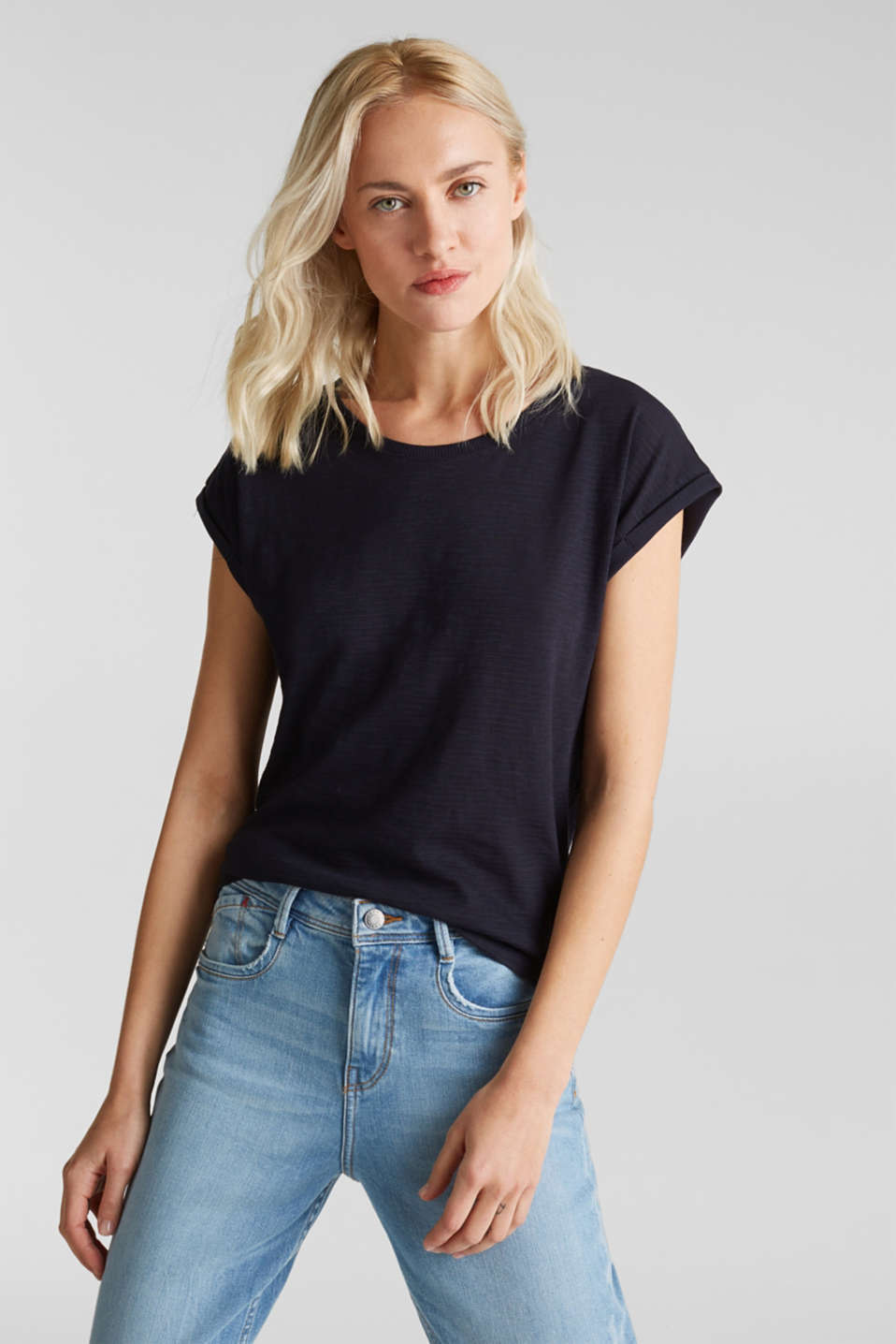 Slub top with a casual cut, NAVY, detail image number 0