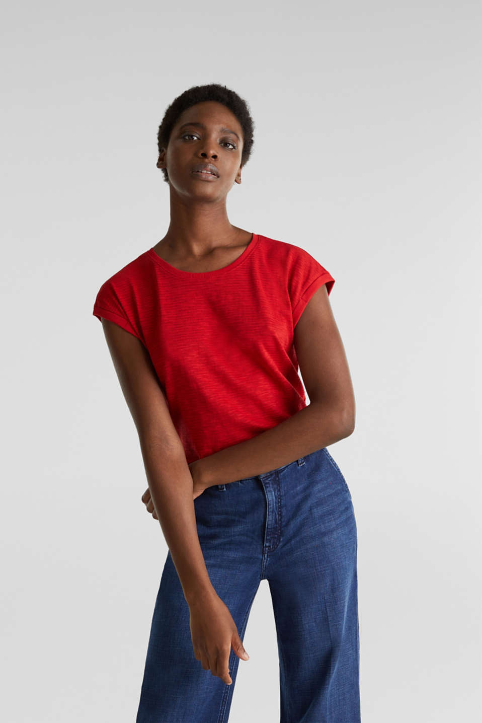 Slub top with a casual cut, DARK RED 3, detail image number 0