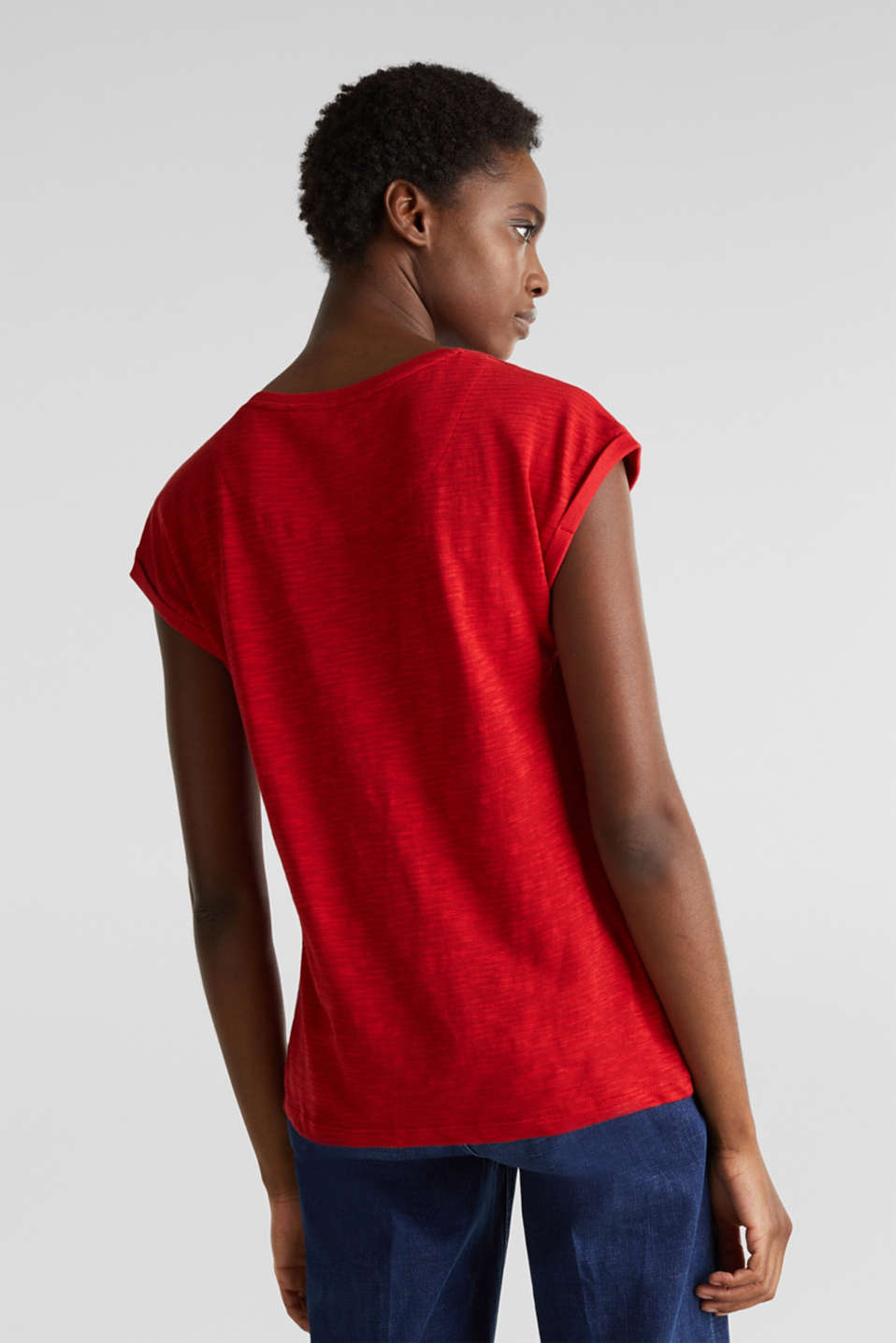 Slub top with a casual cut, DARK RED 3, detail image number 2