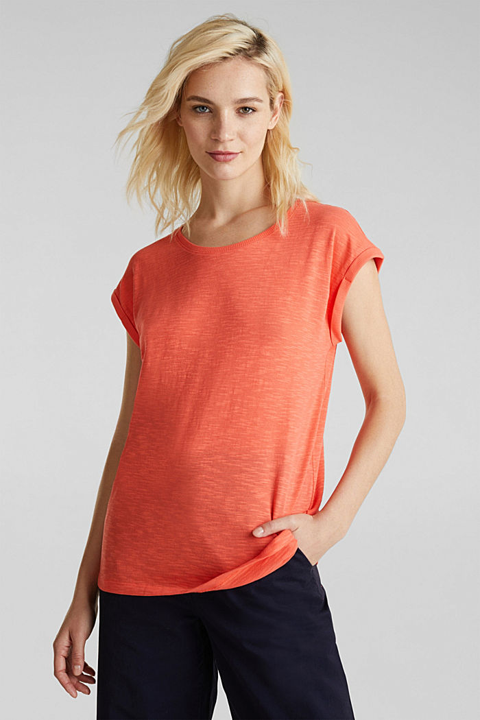 Slub top with a casual cut, CORAL, detail image number 0