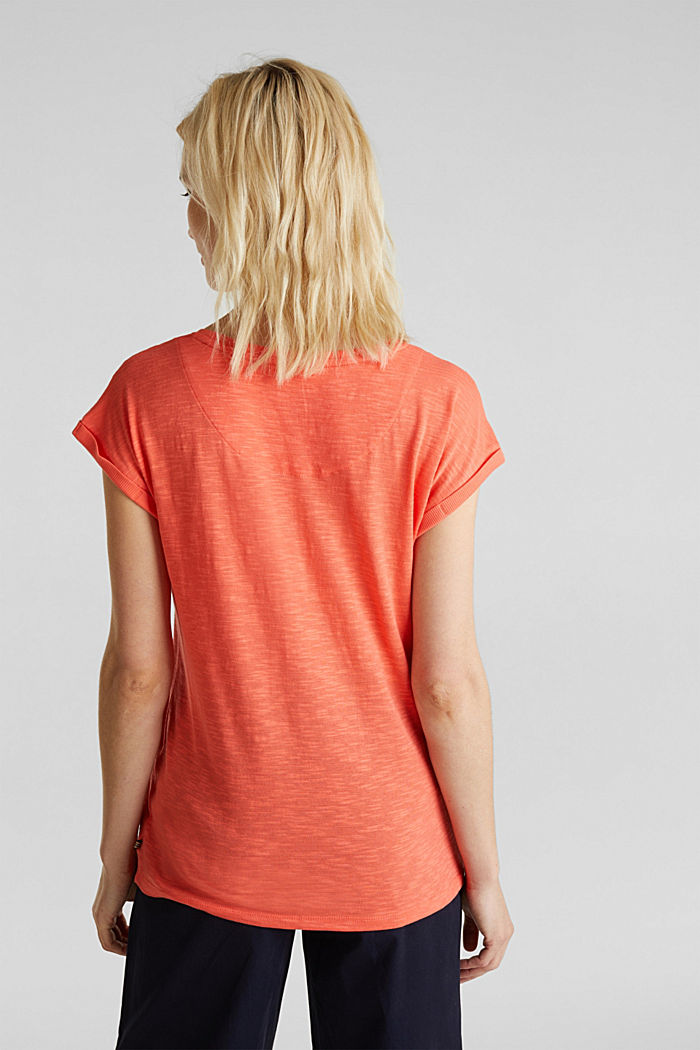 Slub top with a casual cut, CORAL, detail image number 3