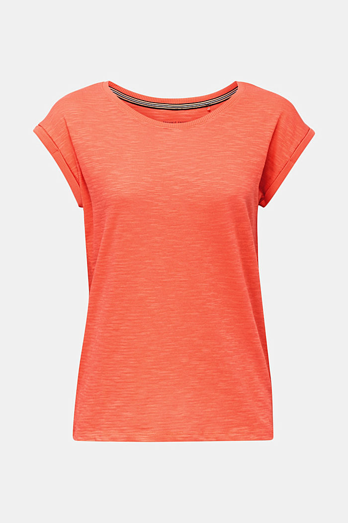Slub top with a casual cut, CORAL, overview