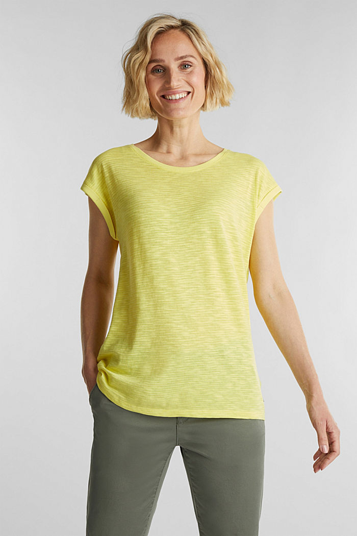 Slub top with a casual cut, BRIGHT YELLOW, detail image number 0