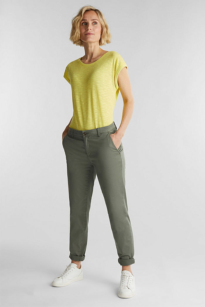Slub top with a casual cut, BRIGHT YELLOW, detail image number 1