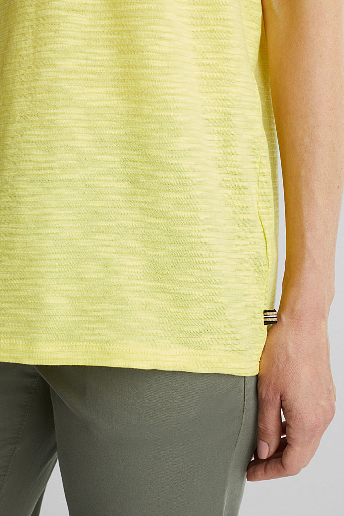 Slub top with a casual cut, BRIGHT YELLOW, detail image number 2
